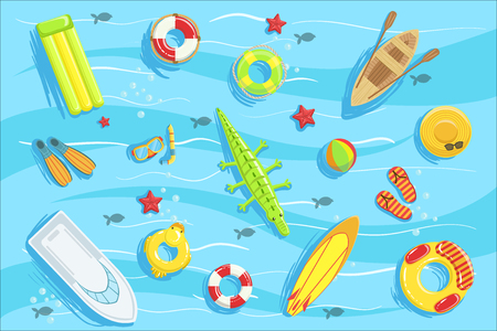Water Toys And Water Sports Objects And Boats From Above Illustration. Bright Color Summer Vacation Related Collection Of Objects Detailed Drawing.
