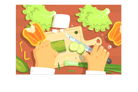 Cooking Of Salad Hands Working On Food Preparation View From Above Drawing. Flat Cartoon Style Vector Image. 일러스트