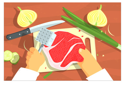 Cooking Of Steak Bright Color Illustrations. Hands Working On Food Preparation View From Above Drawing. Flat Cartoon Style Vector Image. Zdjęcie Seryjne - 111889764