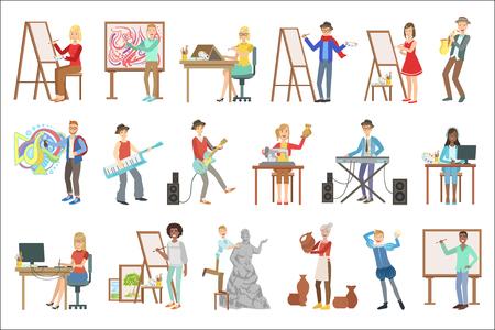 Persone con professioni artistiche insieme di illustrazioni vettoriali carino stile infantile semplificato piatto isolato su sfondo bianco