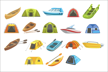 Colorful Tarpaulin Tents Set Of Simple Childish Flat Illustrations Isolated On White Background