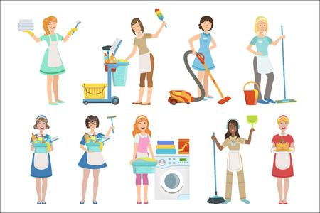 Maids professionnel hôtel avec équipement de nettoyage ensemble d'illustrations Vecteurs