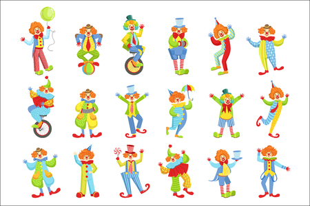 Set Of Colorful Friendly Clowns In Classic Outfits Childish Circus Clown Characters Performing In Costumes And Make Up. Ilustração