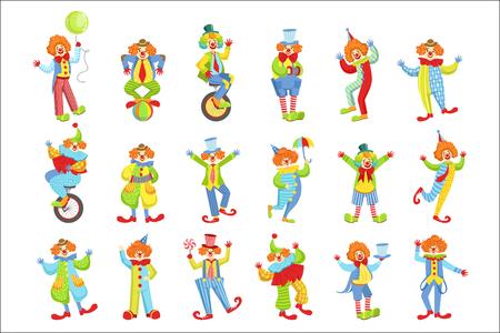 Set von bunten freundlichen Clowns in klassischen Outfits Kindliche Zirkusclown-Charaktere in Kostümen und Make-up. Vektorgrafik