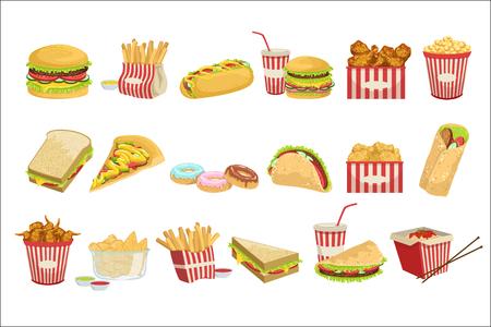 Elementos del menú de comida rápida ilustraciones detalladas realistas. Comida para llevar conjunto de iconos aislados sobre fondo blanco.