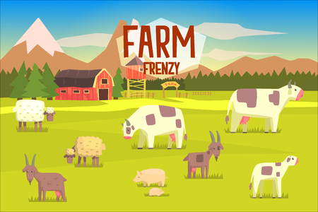 Farm Frenzy Illustration With Field Full Of Farm Animals.Bright Color Funky Flat Drawing In Childish Style.