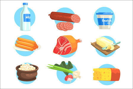Set Of Fresh Farm Products Colorful Stickers With Blue Circle On The Background In Detailed Simple Vector Design.