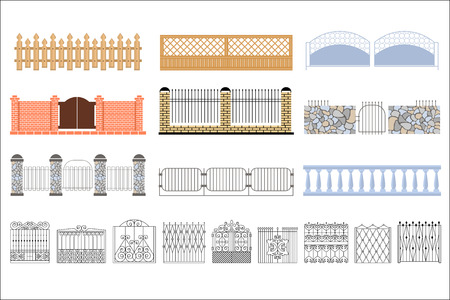 Metal Grid Fencing Set Of Different Designs. Forged Iron Lattice Park Fence Black And White Vector Template Collection. Illustration