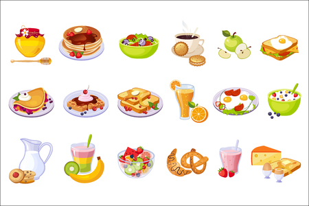 Desayuno, comida, surtido, conjunto, de, aislado, icons., Simple, realista, plano, vector, colorido, dibujos, en, blanco, fondo. Ilustración de vector