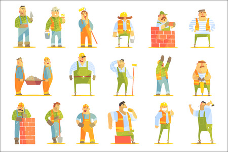Construction Workers At Work Set Of Graphic Design Cool Geometric Style Isolated Drawings On White Background