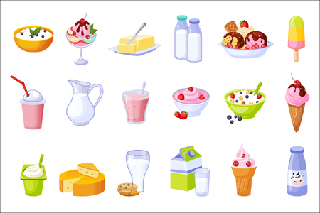 Different Dairy Products Assortment Set Of Isolated Icons. Simple Realistic Flat Vector Colorful Drawings On White Background. Illustration
