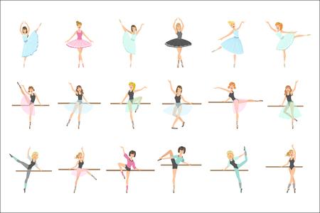 Ballerinas, die in der Tanzklasse trainieren, Satz von flachen, vereinfachten, kindischen Stil, niedlichen Vektorillustrationen, isoliert auf weißem Hintergrund