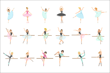 Ballerinas Training In Dance Class Set Of Flat Simplified Childish Style Cute Vector Illustrations Isolated On White Background 矢量图像