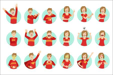 Ilustración de lenguaje corporal de emoción con hombre y mujer demostrando. Conjunto de expresiones faciales emocionales con persona en camiseta roja en marco redondo azul. Ilustración de vector