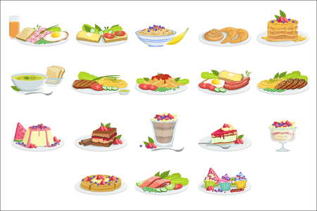 European Cuisine Food Assortment Menu Items Detailed Vector Illustrations. Set Of Cafe Plates In Realistic Design Drawings.