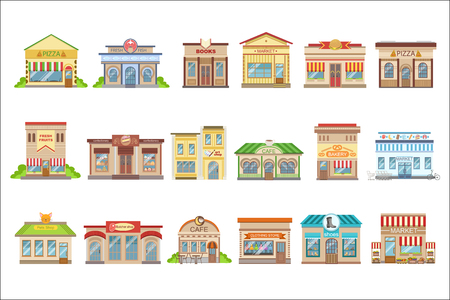 Budynki komercyjne Projekt Zewnętrzny Zestaw Naklejek Ilustracje wektorowe