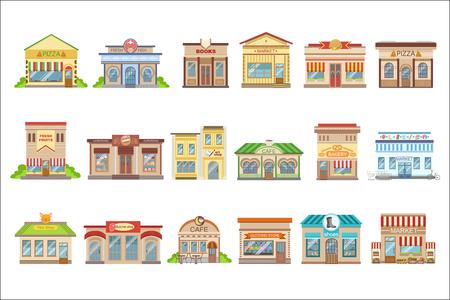 Conjunto de pegatinas de diseño exterior de edificios comerciales Ilustración de vector