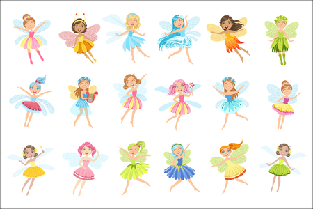 Cute Fairies In Pretty Dresses Girly Cartoon Characters Set. Childish Design Fairy-tale Magical Creatures Simple Adorable Illustrations