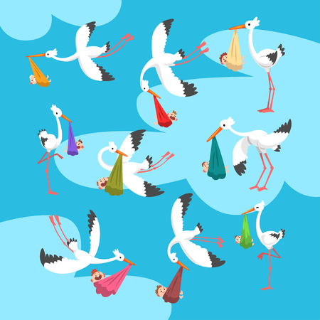 White storks delivering newborn babies set, flying bird carrying bundles with kids, template for baby shower banner, invitation, poster, greeting card vector Illustration in flat style