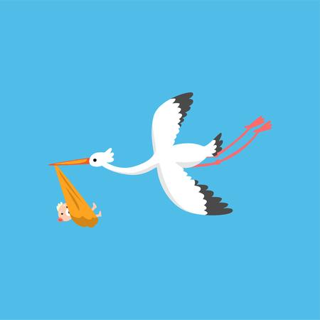 Cicogna che consegna neonato sveglio, uccello in volo che trasporta un fascio, modello per banner doccia bambino, invito, poster, cartolina d'auguri vettoriale illustrazione in stile piano