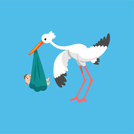White stork carrying newborn baby, template for baby shower banner, invitation, poster, greeting card vector Illustration in flat style
