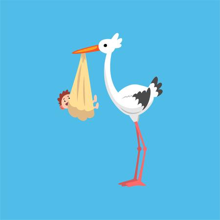 Cigüeña blanca entregando a un bebé recién nacido, cigüeña con un paquete, plantilla para banner de ducha de bebé, invitación, cartel, vector de tarjeta de felicitación ilustración de estilo plano
