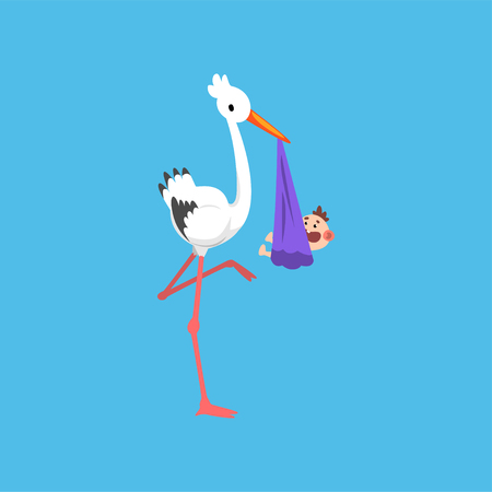 White stork delivering bundle with newborn baby, template for baby shower banner, invitation, poster, greeting card vector Illustration in flat style Ilustração