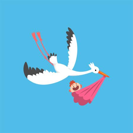Cigogne blanche livrant un bébé nouveau-né, oiseau volant portant un paquet avec bébé fille, modèle pour bannière de douche de bébé, invitation, affiche, vecteur de carte de voeux Illustration dans un style plat Vecteurs