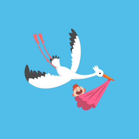 White stork delivering a newborn baby, flying bird carrying a bundle with baby girl, template for baby shower banner, invitation, poster, greeting card vector Illustration in flat style Ilustracja