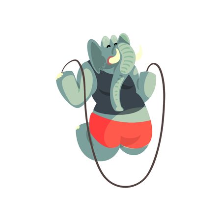 Cute elephant jumping with skipping rope, sportive animal character, fitness and healthy lifestyle vector Illustrations isolated on a white background. Illustration