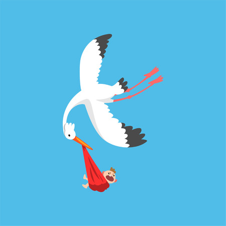 White stork delivering a newborn baby, flying bird carrying a bundle with crying baby, template for baby shower banner, invitation, poster, greeting card vector Illustration in flat style 일러스트