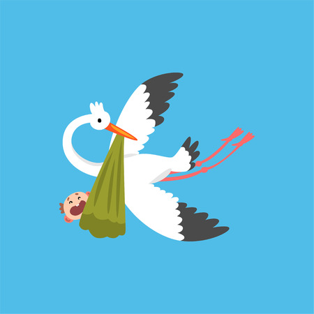 Stork delivering a newborn baby, flying bird carrying a bundle with crying kid, template for baby shower banner, invitation, poster, greeting card vector Illustration in flat style Standard-Bild - 111889789
