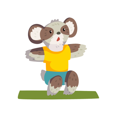 Cute coala bear doing squats wearing sports uniform, sportive animal character, fitness and healthy lifestyle vector Illustrations isolated on a white background.