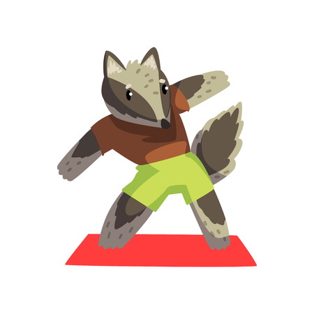 Cute raccoon doing sports exercise wearing sports uniform, sportive animal character, fitness and healthy lifestyle vector Illustrations isolated on a white background.
