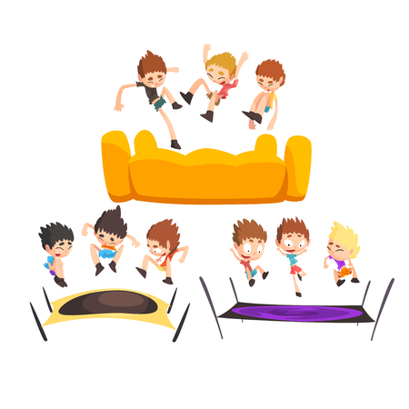 Boys jumping on trampoline, happy bouncing kids having fun on trampoline vector Illustration isolated on a white background.