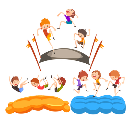 Happy kids jumping on trampoline, cute boys having fun on trampoline vector Illustration isolated on a white background.