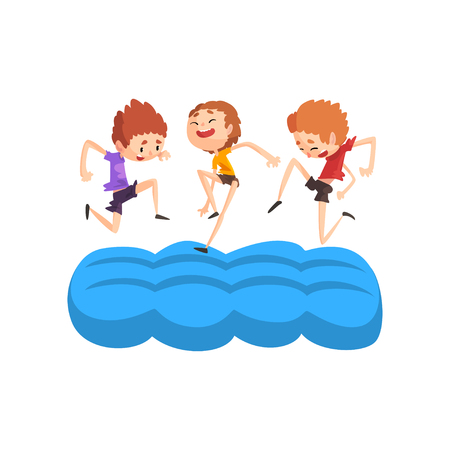 Happy boys having fun on inflatable trampoline vector Illustration isolated on a white background.