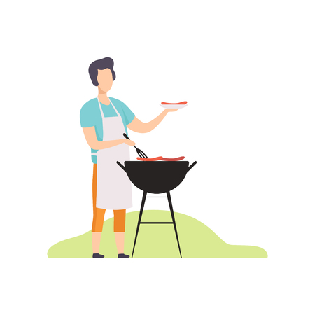 Young man cooking sausages on barbecue grill vector Illustration isolated on a white background. Illustration