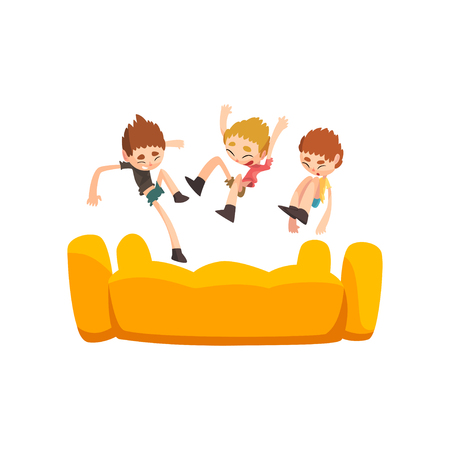 Happy kids jumping on inflatable trampoline vector Illustration isolated on a white background. Illustration