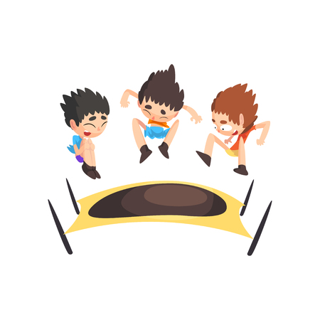 Boys jumping on trampoline, bouncing kids having fun on trampoline vector Illustration isolated on a white background. Vektoros illusztráció