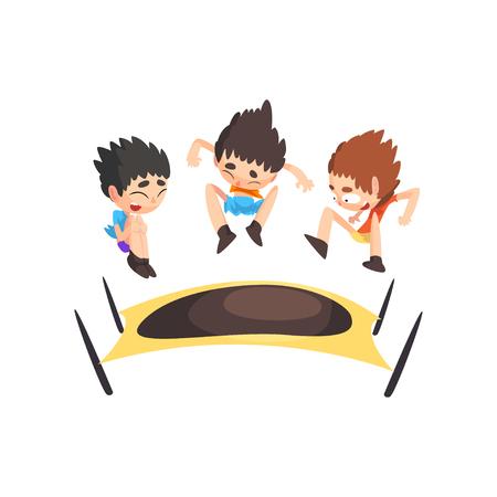 Niños saltando en el trampolín, rebotando a los niños divirtiéndose en el vector de trampolín ilustración aislada sobre fondo blanco. Ilustración de vector