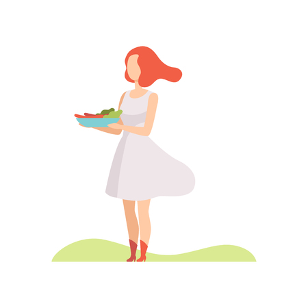 Young woman holding a bowl of vegetables and grilled sausages, barbecue party vector Illustration isolated on a white background.