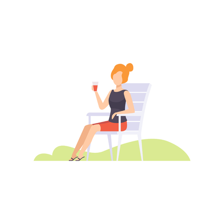 Young woman drinking wine from plastic cup, girl having outdoor bbq party vector Illustration isolated on a white background.