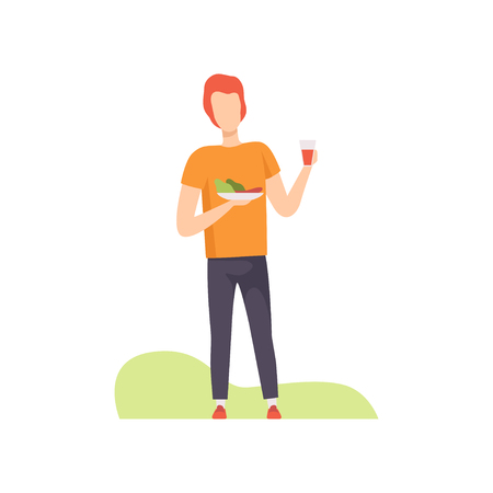 Young man holding a plate of grilled sausages and plastic cup of drink, barbecue party outdoor vector Illustration isolated on a white background. Illustration