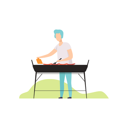 Young man cooking barbecue on grill outdoor vector Illustration isolated on a white background. Illustration