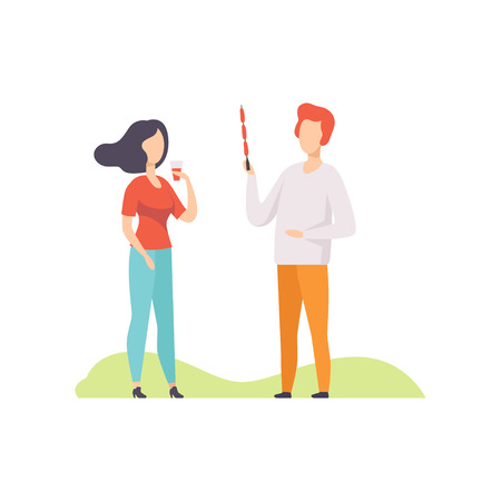 Young couple having outdoor bbq party, girl standing with plastic cup of drink, man holding a skewer with grilled sausages vector Illustration isolated on a white background.