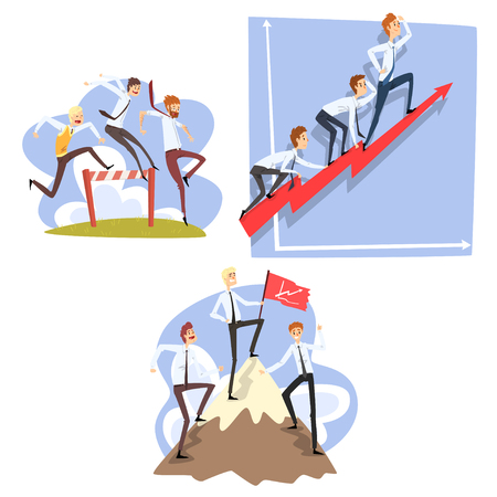 Businessmen overcoming obstacles to achieving the goals, teamwork, business, career development concept vector Illustration isolated on a white background.