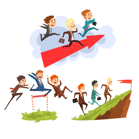 Businessmen overcoming obstacles together to achieving the goals, teamwork, business, career development concept vector Illustration isolated on a white background.