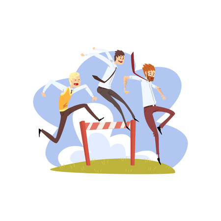 Businessmen jumping over hurdles together, competition in achieving the goal, business, career development concept vector Illustration isolated on a white background.
