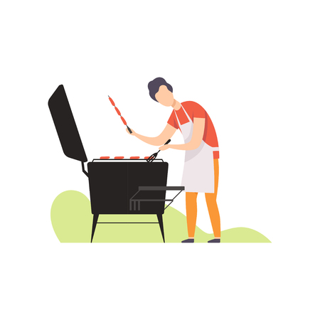 Young man grilling sausages on barbecue grill vector Illustration isolated on a white background. Illustration
